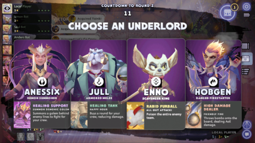 Choose an underloard screenshot of Dota Underlords Mobile video game interface.