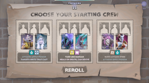 Choose your starting crew screenshot of Dota Underlords Mobile video game interface.