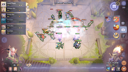 Combat round screenshot of Dota Underlords Mobile video game interface.