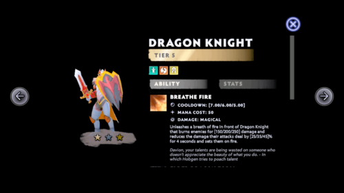 Dragon knight screenshot of Dota Underlords Mobile video game interface.