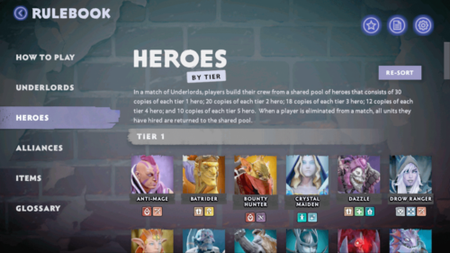 Heroes by tier screenshot of Dota Underlords Mobile video game interface.