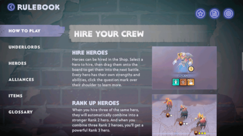 Hire your crew screenshot of Dota Underlords Mobile video game interface.