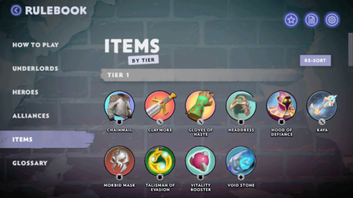Items by tier screenshot of Dota Underlords Mobile video game interface.