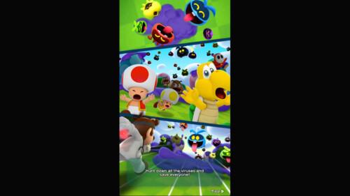 Dialogue - Intro screenshot of Dr. Mario World video game interface.