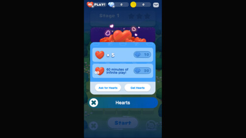 Hearts screenshot of Dr. Mario World video game interface.