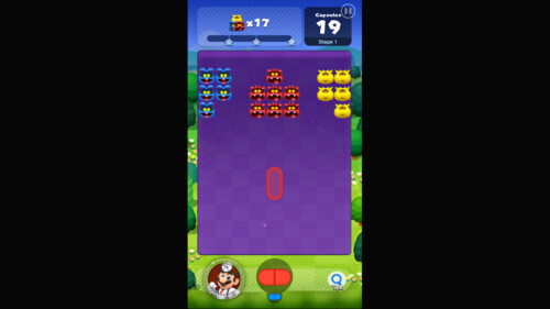 Level Play screenshot of Dr. Mario World video game interface.