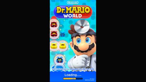 Loading Start screenshot of Dr. Mario World video game interface.