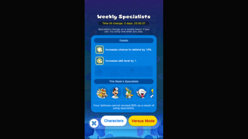 Weekly Specialists screenshot of Dr. Mario World video game interface.