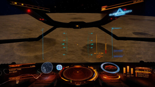 Atmospheric flight screenshot of Elite: Dangerous video game interface.
