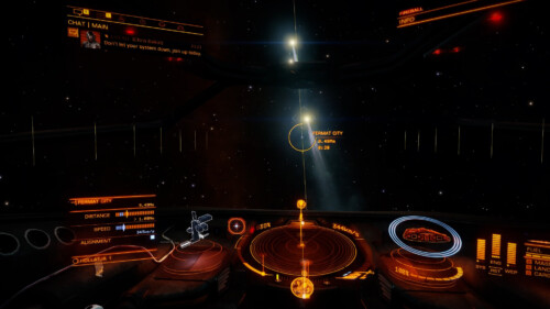 Chasing players screenshot of Elite: Dangerous video game interface.