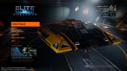 Main menu screenshot of Elite: Dangerous video game interface.