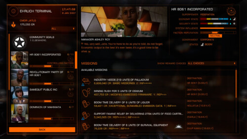 Mission table screenshot of Elite: Dangerous video game interface.