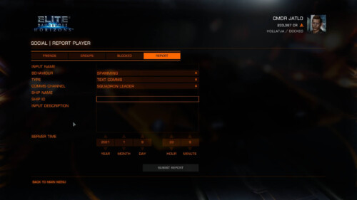 Player reporting screenshot of Elite: Dangerous video game interface.