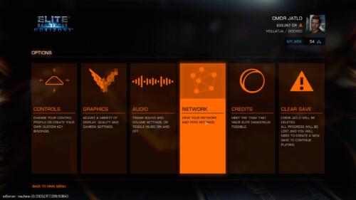 Settings menu screenshot of Elite: Dangerous video game interface.