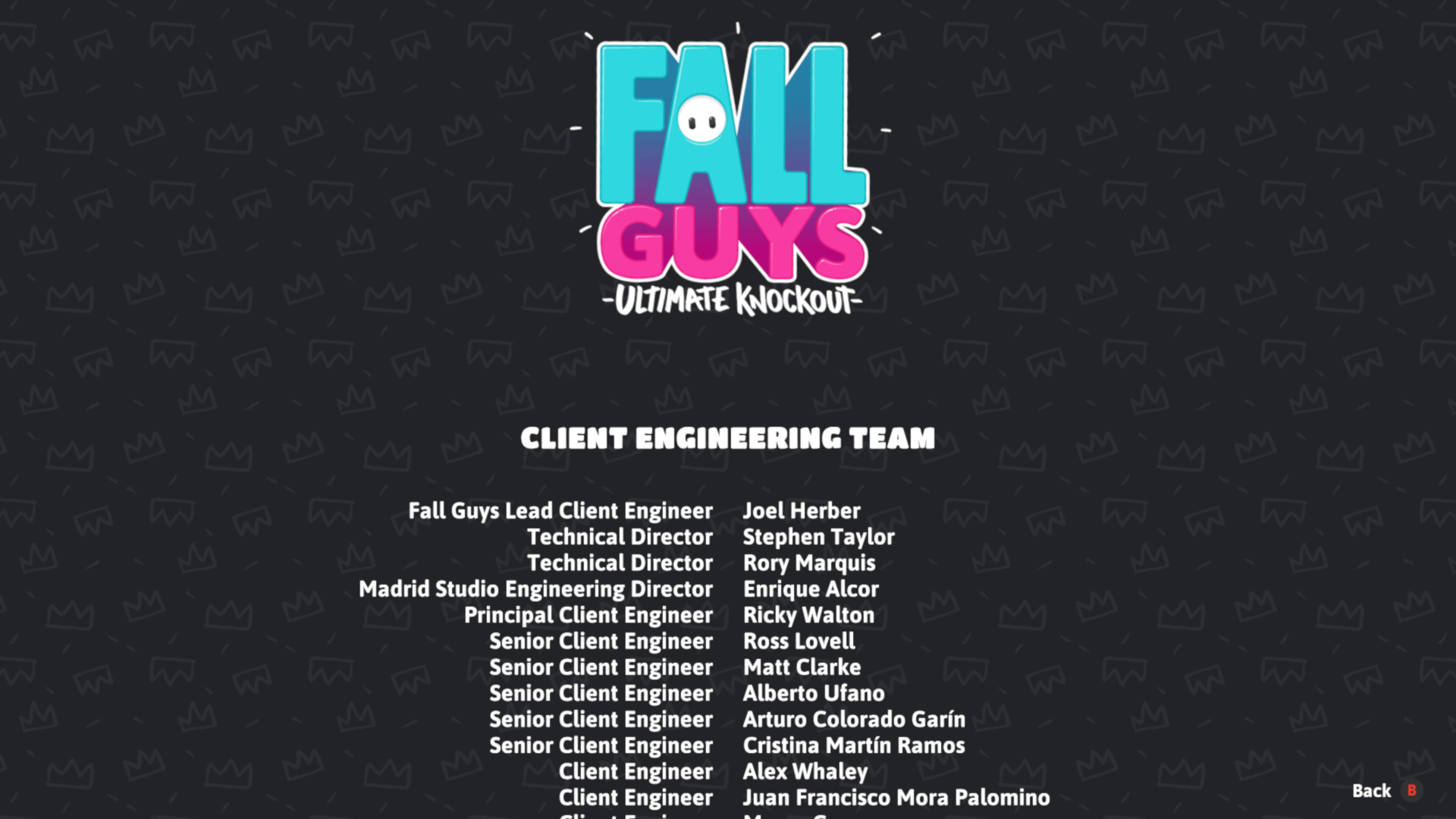 Credits screenshot of Fall Guys: Ultimate Knockout video game interface.