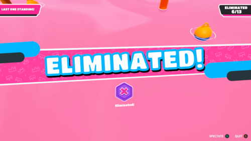 Eliminated screenshot of Fall Guys: Ultimate Knockout video game interface.