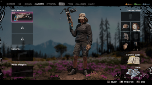 Character screenshot of Far Cry New Dawn video game interface.