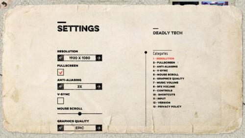 Settings screenshot of Felix the Reaper video game interface.