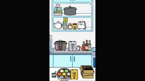 Organizing Kitchen items on Shelves screenshot of Florence video game interface.