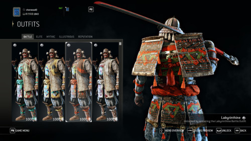 Battle outfits screenshot of For Honor video game interface.