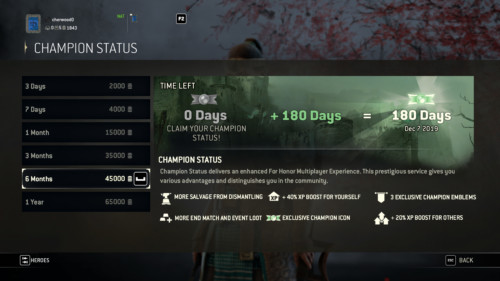 Champion status screenshot of For Honor video game interface.