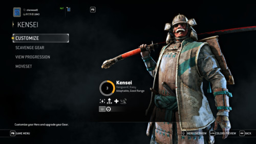Character screenshot of For Honor video game interface.