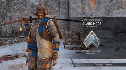 Congratulations screenshot of For Honor video game interface.