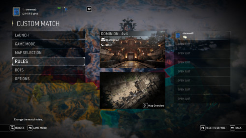 Custom match screenshot of For Honor video game interface.