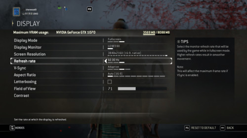 Display screenshot of For Honor video game interface.