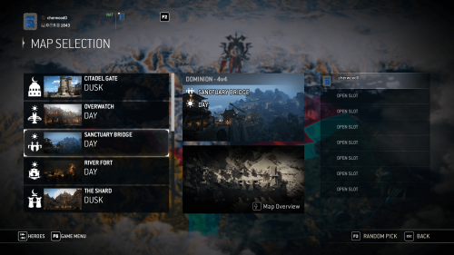 Map selection screenshot of For Honor video game interface.