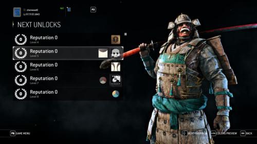 Next unlocks screenshot of For Honor video game interface.