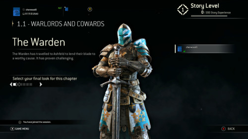 Select your look screenshot of For Honor video game interface.