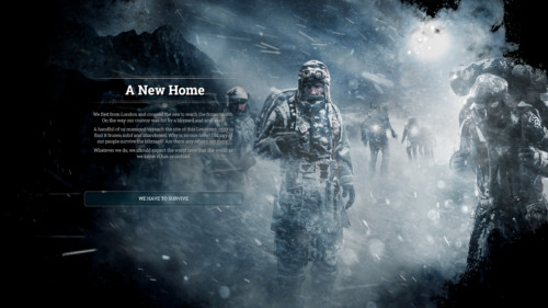 A new home screenshot of Frostpunk video game interface.