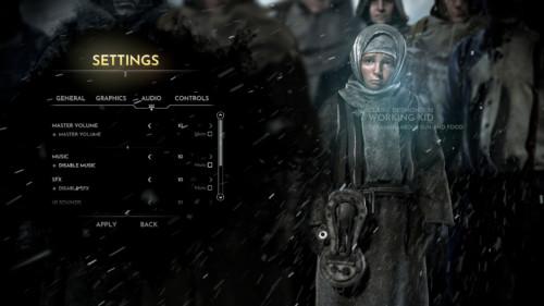 Audio screenshot of Frostpunk video game interface.