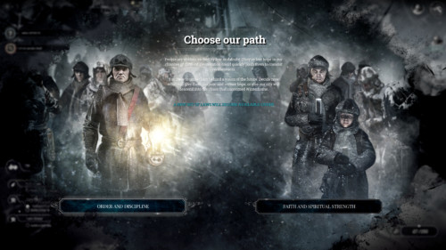 Choose our path screenshot of Frostpunk video game interface.