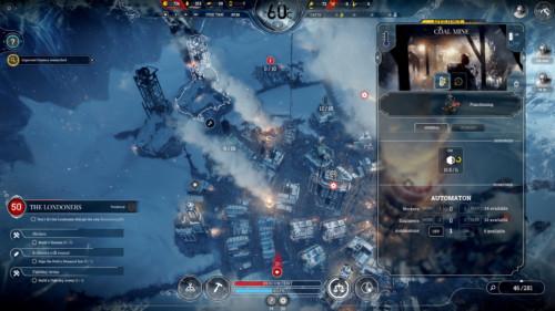 Coal mine screenshot of Frostpunk video game interface.