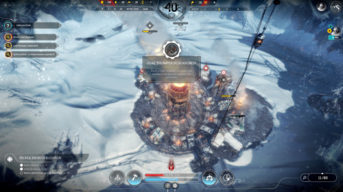 Coal thumper researched screenshot of Frostpunk video game interface.