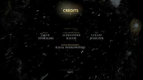 Credits screenshot of Frostpunk video game interface.