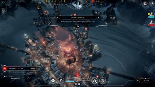 Evening prayers screenshot of Frostpunk video game interface.