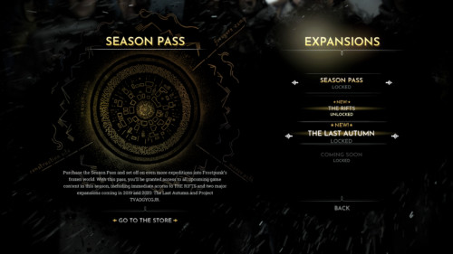 Expansions screenshot of Frostpunk video game interface.