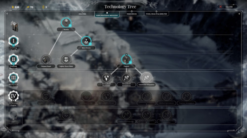Exploration and industry screenshot of Frostpunk video game interface.