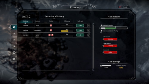 Extraction efficiency screenshot of Frostpunk video game interface.