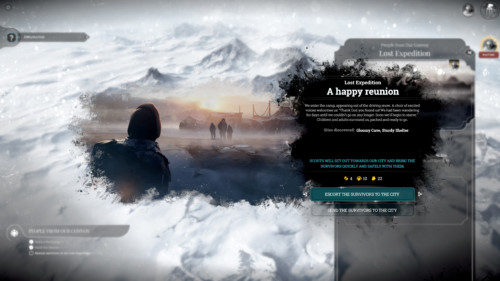 Lost expedition screenshot of Frostpunk video game interface.