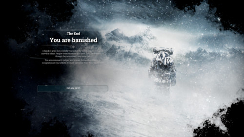 You are banished screenshot of Frostpunk video game interface.
