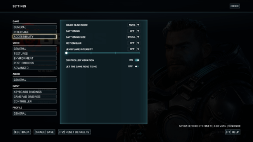 Accessibility screenshot of Gears Tactics video game interface.