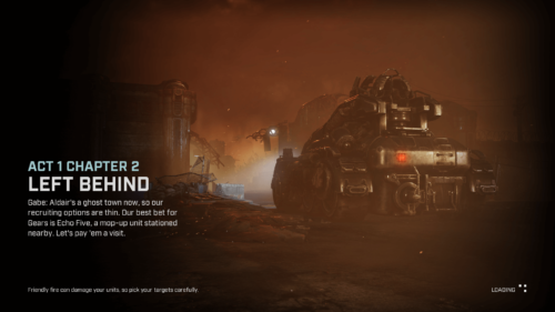 Loading screenshot of Gears Tactics video game interface.