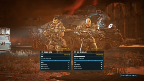 Character Stats screenshot of Gears Tactics video game interface.