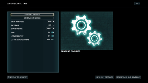 Controller Mapping screenshot of Gears Tactics video game interface.