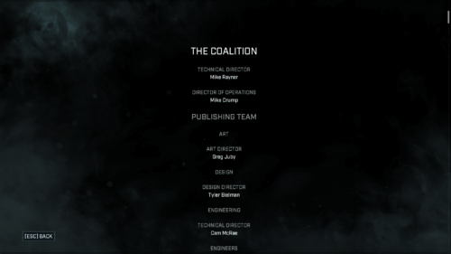 Credits screenshot of Gears Tactics video game interface.