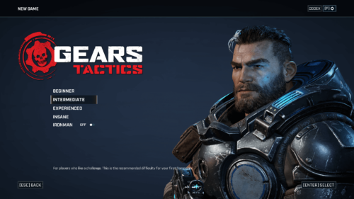 Difficulty screenshot of Gears Tactics video game interface.